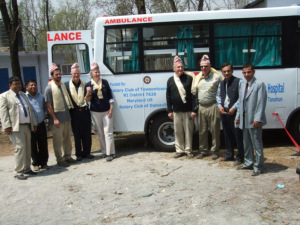 Neil and fellow Rotarians with the ambulance given to Setiganga Community Hospital, Nepal